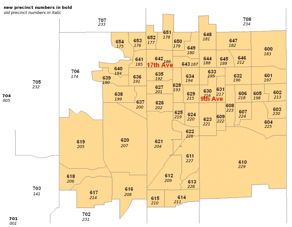 Precinct numbers - new and old - Longmont region